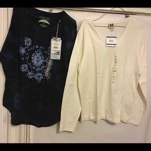 EARTH 🌍 YOGA & ANN KLEIN LONG-SLEEVED TEES NWT XL